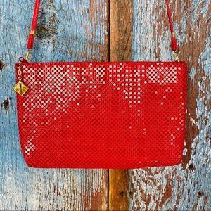 Whiting & Davis Red Mesh Metal Crossbody Bag